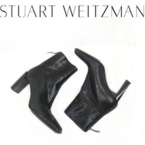 Stuart Weitzman Black Snakeskin Leather Boots 8B